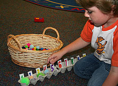 Boy Learning his numbers