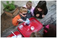 Children doing experiments.